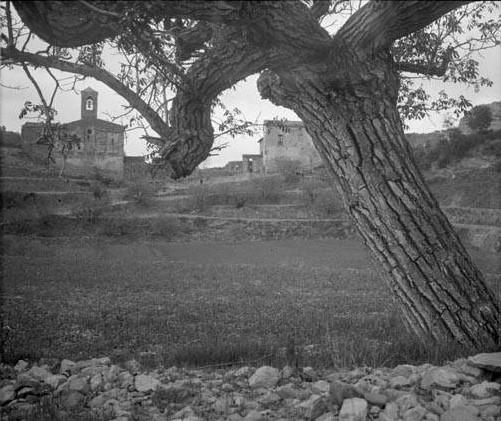 Església i algunes cases de Coaner amb un arbre en primer terme. Fons: Arxiu de la Memòria Digital de Catalunya.