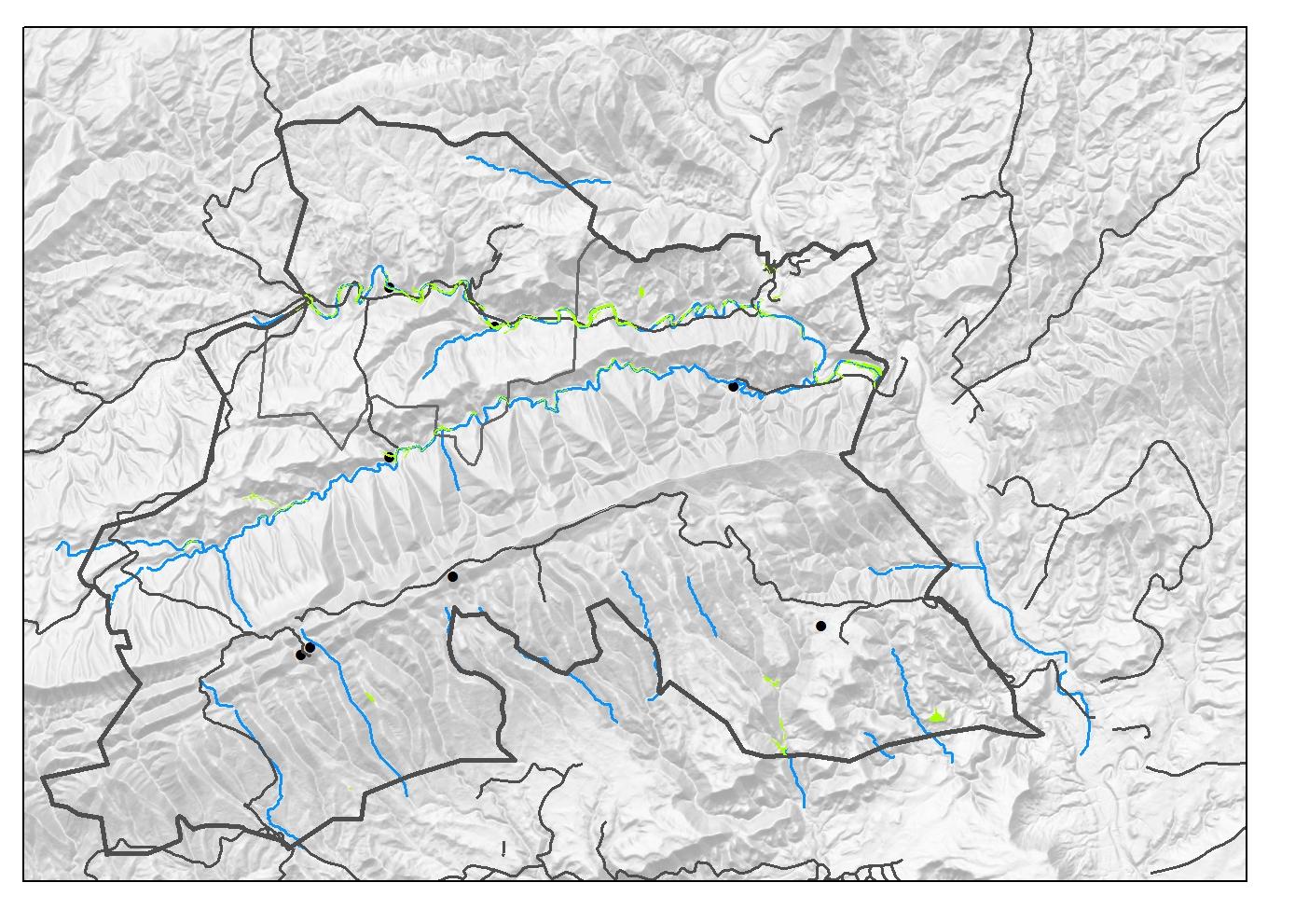 Distribució dels boscos de ribera a Sant Mateu de Bages